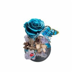 3 Trandafiri Criogenati Albastru metalic in cupola cu buton de sticla Queen Flowers Flori si Aranjamente florale