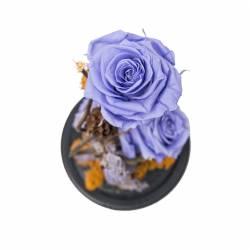 3 Trandafiri Criogenati in cupola de sticla Queen Flowers Flori si Aranjamente florale