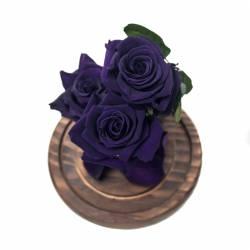 3 Trandafiri Criogenati Mov in cupola de sticla Queen Flowers Flori si Aranjamente florale
