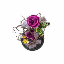 3 Trandafiri Criogenati Roz Metalic in cupola cu buton de sticla Queen Flowers Flori si Aranjamente florale