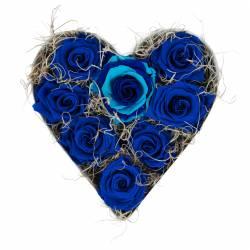 8 Trandafiri Criogenati Albastru Duo in forma de inima Queen Flowers Flori si Aranjamente florale