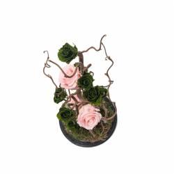 8 Trandafiri Criogenati Roz Verde in cupola cu buton de sticla Queen Flowers Flori si Aranjamente florale