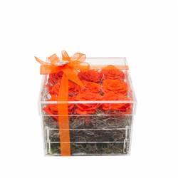 9 Trandafiri Criogenati Portocalii in cutie acrilica Queen Flowers Flori si Aranjamente florale