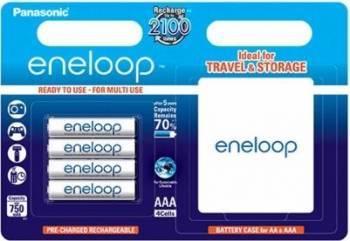 Acumulatori Panasonic Eneloop R03 AAA 750mAh - 4 buc. blister + Cutie Acumulatori Baterii Incarcatoare