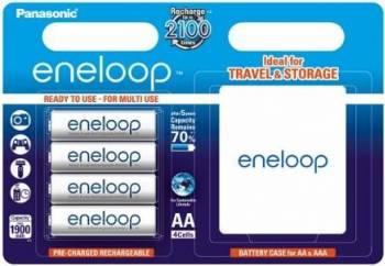 Acumulatori Panasonic Eneloop R6/AA 1900mAh 4buc + Carcasa Acumulatori Baterii Incarcatoare