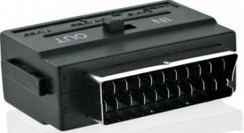 Adaptor 4World 06095 SCART la S-Video + 3 x RCA Negru Adaptoare TV