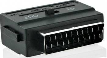 Adaptor 4World 06095 SCART la S-Video + 3 x RCA Negru Adaptoare TV