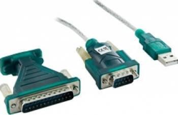Adaptor 4World USB la Serial DB9M - DB25M 1.2m Adaptoare