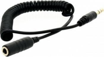 Adaptor audio 4World cablu de extensie in spirala mufa 3.5 mm 75cm Negru