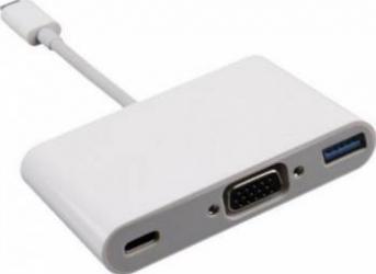 Adaptor multiport Kit USB-C 3.1 la VGA USB-C 2.0 USB-A 3.0 Alb Adaptoare