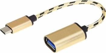 Adaptor OEM OTG USB-C USB 3.1 Type-C Male la USB 3.0 Female 15cm auriu Cabluri telefoane mobile