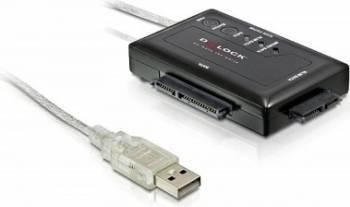 Adaptor portabil Delock USB 2.0 la SATA 22 pini/16 pini/13 pini cu alimentare Adaptoare
