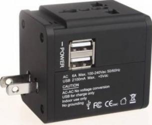 Adaptor priza universal Serioux SRXA-158 2 porturi USB Negru Incarcatoare Telefoane