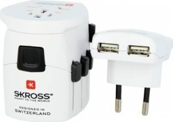 Adaptor universal priza Skross World PRO Plus USB 3P Prize