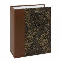 Album NewStyle 100 poze 10x15 slip-in piele ecologica imprimeu floral maro deschis Albume Foto