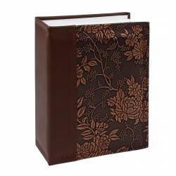 Album NewStyle 100 poze 10x15 slip-in piele ecologica imprimeu floral maro inchis Albume Foto