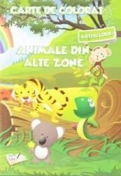 Animale din alte zone - Carte de colorat cu abtibilduri