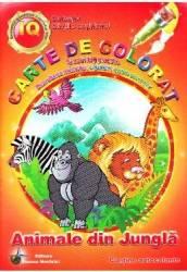 Animale din jungla - Carte de colorat si activitati practice