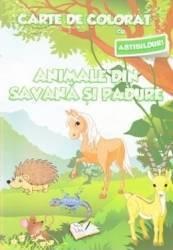 Animale din savana si padure - Carte de colorat cu abtibilduri