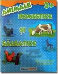 Animale domestice si salbatice 3+ - Carte de colorat cu abtibilduri