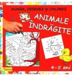 Animale indragite - Numar desenez si colorez
