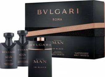 pret preturi Apa de Parfum Man in Black by Bvlgari + After Shave Balsam 40ml + Sampon-Gel dus 40ml Barbati