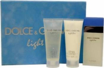 Apa de Toaleta Light Blue Travel 100ml + Shower Gel 100ml + Body Lotion 100ml by Dolce and Gabbana Femei 100ml+100ml+100 Parfumuri de dama