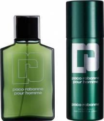 Apa de Toaleta Pour Homme 100 ml + Deodorant 150 ml by Paco Rabanne Barbati Seturi Cadou
