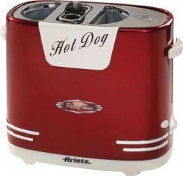 Aparat de facut hot dog Ariete 186 650W 5 nivele de putere Oprire automata Rosu