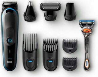 pret preturi Aparat de ras hibrid 9-in-1 Braun MGK5080 7 accesorii + Aparat de ras Gillette Flexball Negru-Albastru