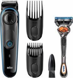 Aparat de tuns barba Braun BT3040 + Gillette Fusion FlexBall Wet-Dry 39 setari lungime Alb-Albastru Aparate de tuns
