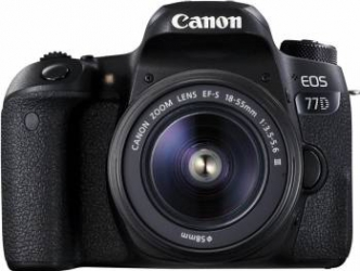 Aparat Foto Canon EOS 77D 24.2 MP cu Obiectiv 18-55mm f3.5-5.6 DC III Black Aparate foto DSLR