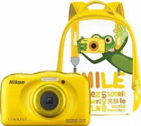 Aparat Foto Compact Nikon Coolpix Wateroproof W100 + Backpack Kit Galben Aparate foto compacte