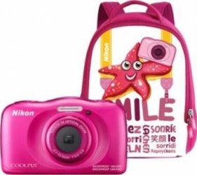 Aparat Foto Compact Nikon Coolpix Wateroproof W100 + Backpack Kit Roz