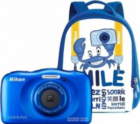 Aparat Foto Compact Nikon Coolpix Wateroproof W100 + Backpack Kit Albastru Aparate foto compacte