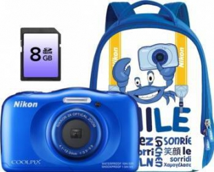 Aparat Foto Digital Nikon CoolPix S33 Backpack kit Albastru