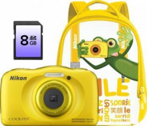 Aparat Foto Digital Nikon CoolPix S33 Backpack kit Galben