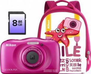 Aparat Foto Digital Nikon CoolPix S33 Backpack kit Roz