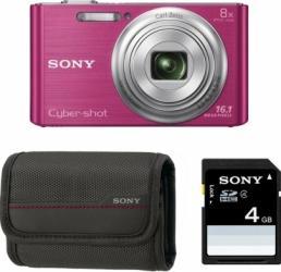 Aparat Foto Digital Sony DSC-W730 Pink - Card si Husa