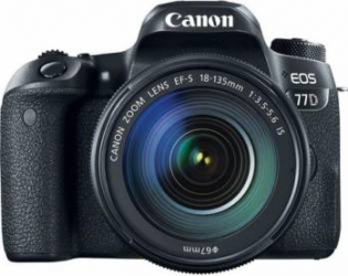 Aparat foto DSLR Canon EOS 77D 24.2MP Wi-Fi Negru + Obiectiv EF-S 18-135 f3.5-5.6 IS USM Aparate foto DSLR