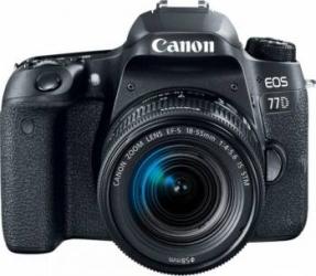 Aparat Foto DSLR Canon EOS 77D 24.2MP Wi-Fi Negru + Obiectiv EF-S 18-55mm f3.5-5.6 IS STM Aparate foto DSLR