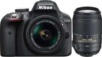 Aparat Foto DSLR Nikon D3300, 24.2MP + Obiectiv A-FP 18-55mm VR + Obiectiv 55-300 VR Aparate foto DSLR