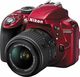 Aparat Foto DSLR Nikon D3300 Kit 18-55mm f3.5-5.6G VR II Rosu