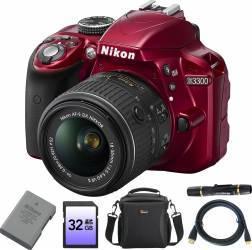 Aparat Foto DSLR Nikon D3300 KIT AF-P 18-55mm VR Rosu +Baterie En-El14+Geanta DS