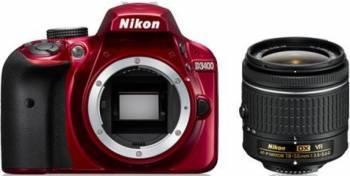 Aparat foto DSLR Nikon D3400 24MP + Obiectiv AF-P DX 18-55mm VR Red Aparate foto DSLR