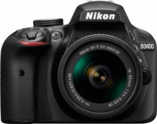 Aparat foto DSLR Nikon D3400 24 2MP Black + Obiectiv AF-P 18-55mm VR Aparate foto DSLR