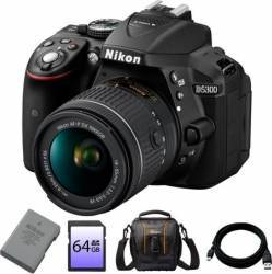 Aparat Foto DSLR Nikon D5300 24.2MP + Obiectiv AF-P 18-55mm VR + Baterie EN-EL14 + Card 64GB + Geanta + Cablu USB Aparate foto DSLR