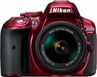Aparat Foto DSLR Nikon D5300 Kit AF-P 18-55mm VR Rosu