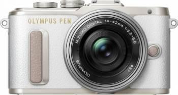 Aparat Foto Mirrorless Olympus E-PL8 Pancake Zoom Kit + EZ-M1442EZ Alb Aparate Foto Mirrorless