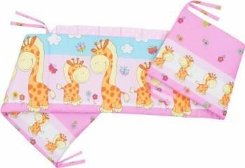 Aparatoare Laterala MyKids Happy Giraffe Roz 120x60 Lenjerii si accesorii patut